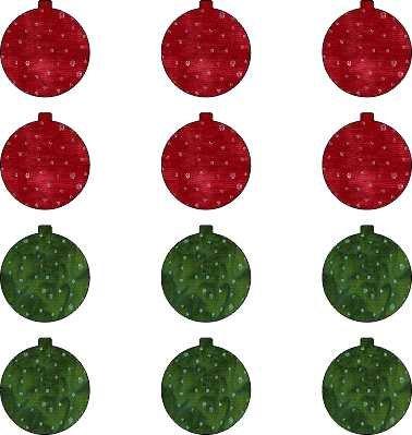 SHAN-LC016 RG - CHRISTMAS ORNAMENT BACKING LASER CUT BY SHANIA 12PK RED GREEN BATIK