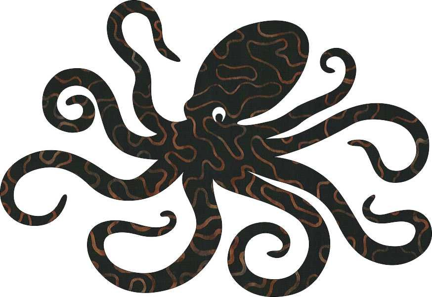SHAN-LC020 01 - OCTOPUS LASER CUTS BY SHANIA SUNGA 6X8.75 BLACK/RUST