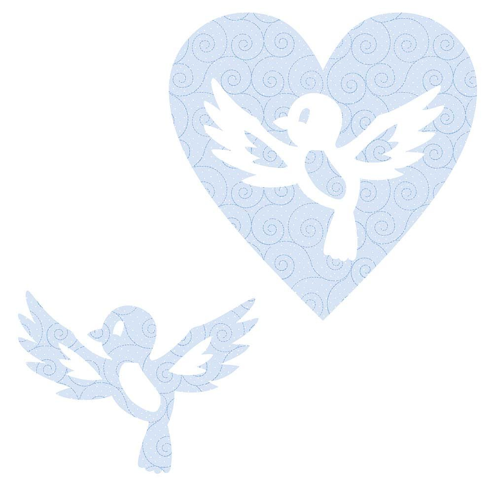 SHAN-LC021 01 - BIRD&HEART LASER CUTS BY SHANIA SUNGA 6.25X6.25 FLANNEL BLUE