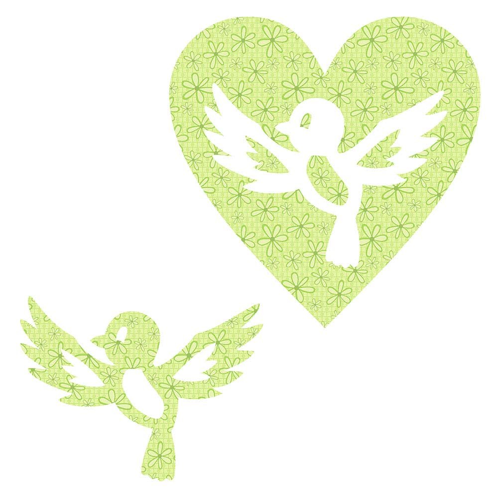 SHAN-LC021 02 - BIRD&HEART LASER CUTS BY SHANIA SUNGA 6.25X6.25 FLANNEL GREEN