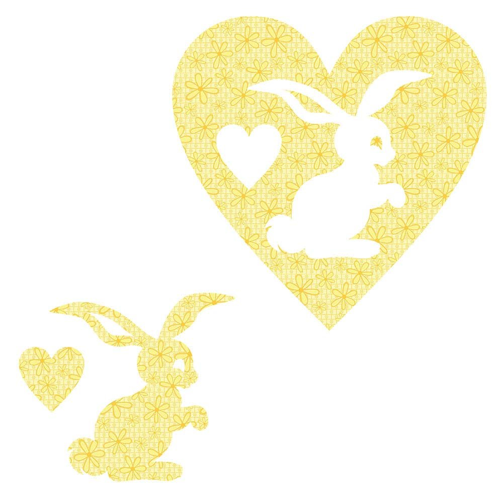 SHAN-LC022 01 - BUNNY&HEART LASER CUTS BY SHANIA SUNGA 6.25X6.25 FLANNEL YELLOW