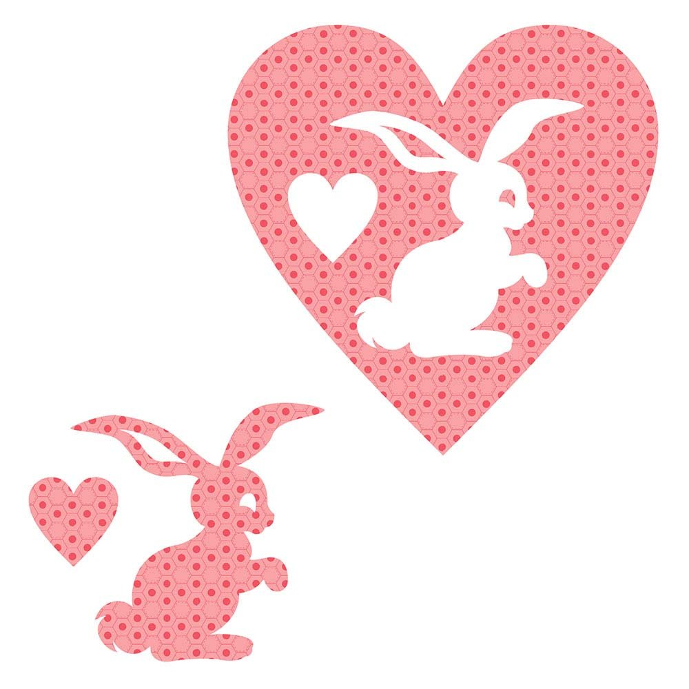SHAN-LC022 02 - BUNNY&HEART LASER CUTS BY SHANIA SUNGA 6.25X6.25 FLANNEL PINK