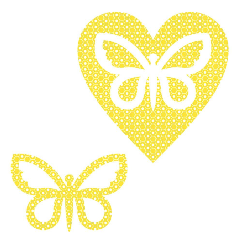 SHAN-LC023 02 - BUTTERFLY&HEART LASER CUTS BY SHANIA SUNGA 6.25X6.25 FLANNEL YEL
