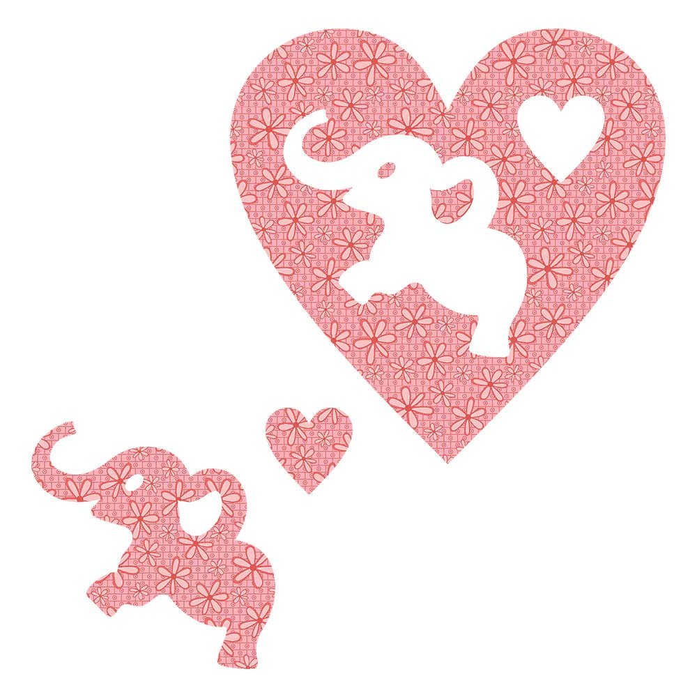 SHAN-LC024 01 - ELEPHANT&HEART LASER CUTS BY SHANIA SUNGA 6.25X6.25 FLANNEL PINK