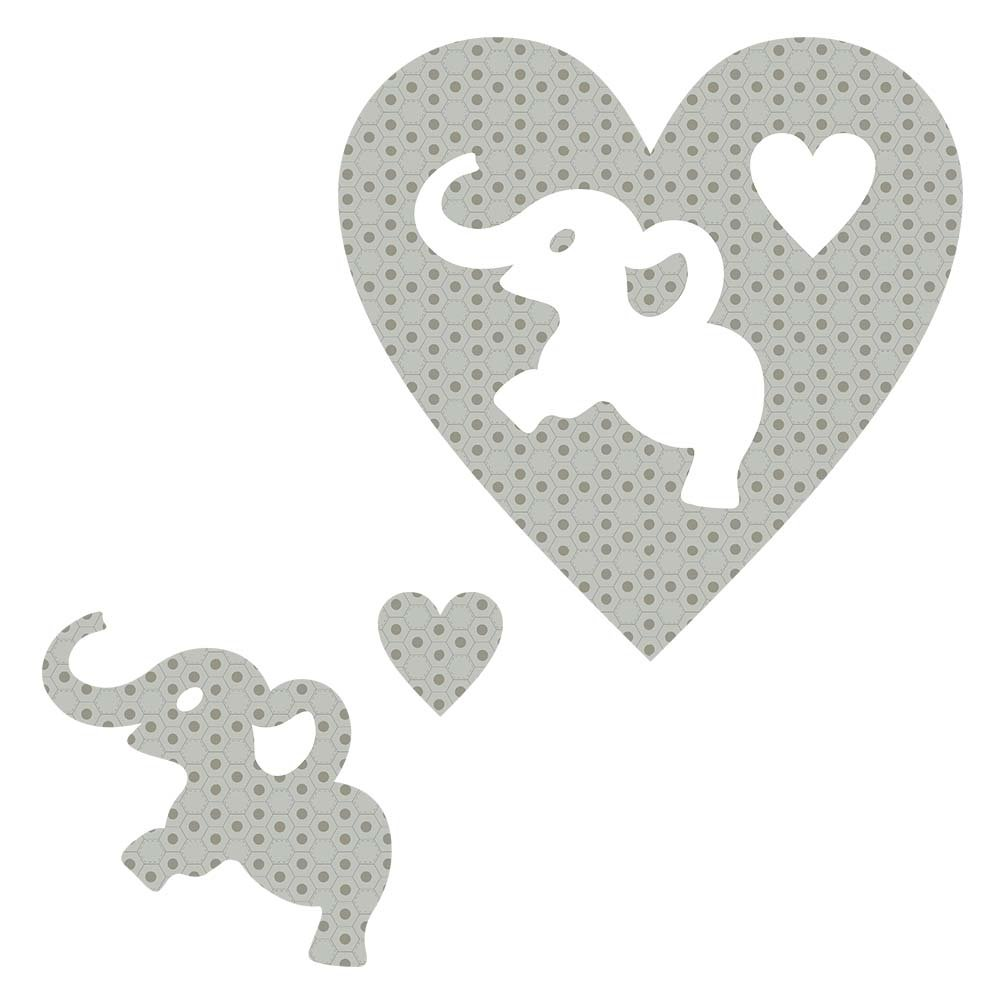 SHAN-LC024 02 - ELEPHANT&HEART LASER CUTS BY SHANIA SUNGA 6.25X6.25 FLANNEL GREY