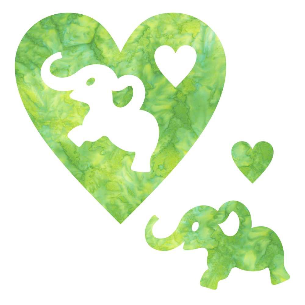 SHAN-LC024 04 - ELEPHANT & HEART LASER CUTS BY SHANIA SUNGA 6.25X6.25 GREEN YELLOW