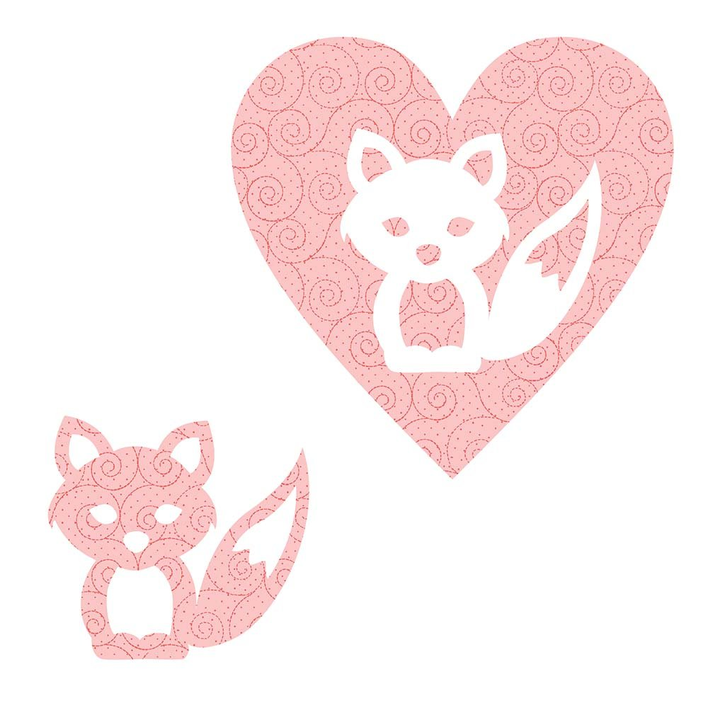 SHAN-LC025 01 - FOX&HEART LASER CUTS BY SHANIA SUNGA 6.25X6.25 FLANNEL PINK