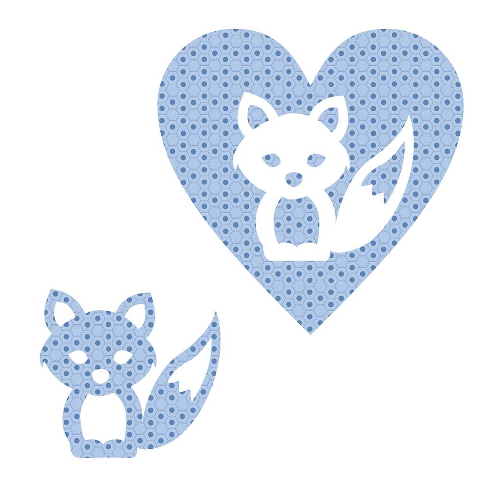 SHAN-LC025 02 - FOX&HEART LASER CUTS BY SHANIA SUNGA 6.25X6.25 FLANNEL BLUE