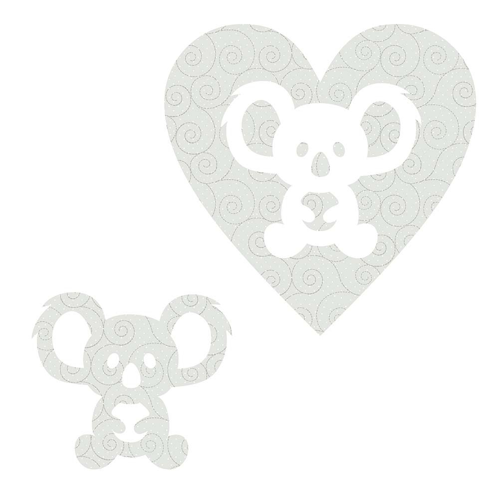 SHAN-LC026 01 - KOALA&HEART LASER CUTS BY SHANIA SUNGA 6.25X6.25 FLANNEL GREY
