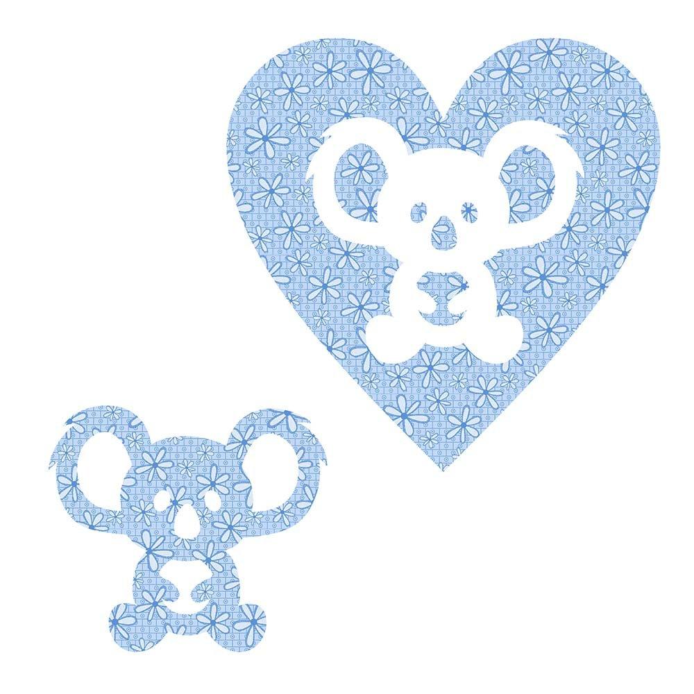 SHAN-LC026 02 - KOALA&HEART LASER CUTS BY SHANIA SUNGA 6.25X6.25 FLANNEL BLUE