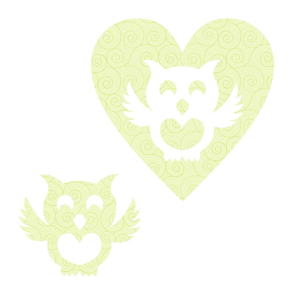 SHAN-LC027 01 - OWL&HEART LASER CUTS BY SHANIA SUNGA 6.25X6.25 FLANNEL GREEN