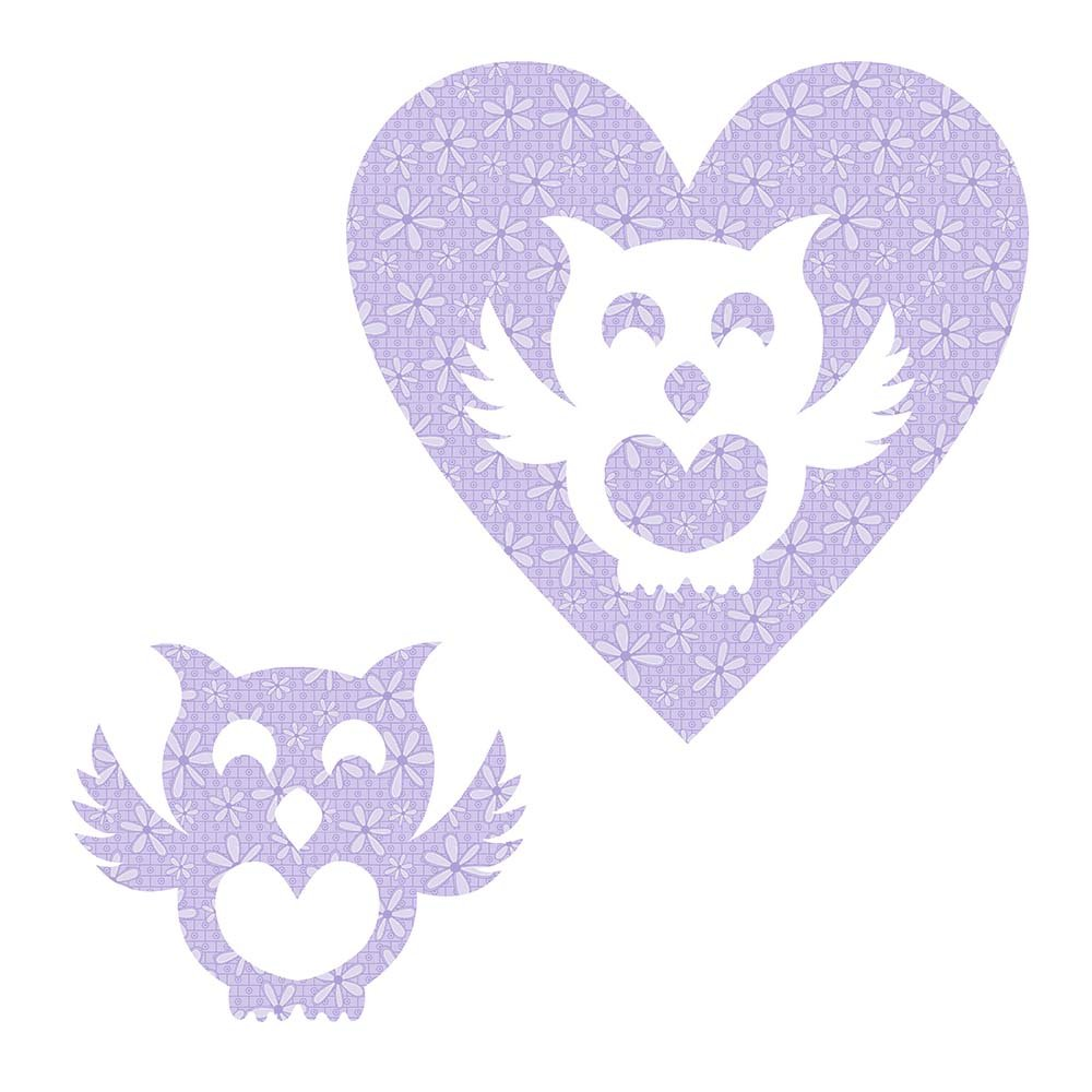 SHAN-LC027 02 - OWL&HEART LASER CUTS BY SHANIA SUNGA 6.25X6.25 FLANNEL PURPLE