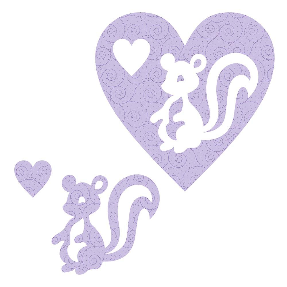 SHAN-LC028 01 - SKUNK&HEART LASER CUTS BY SHANIA SUNGA 6.25X6.25 FLANNEL PUR