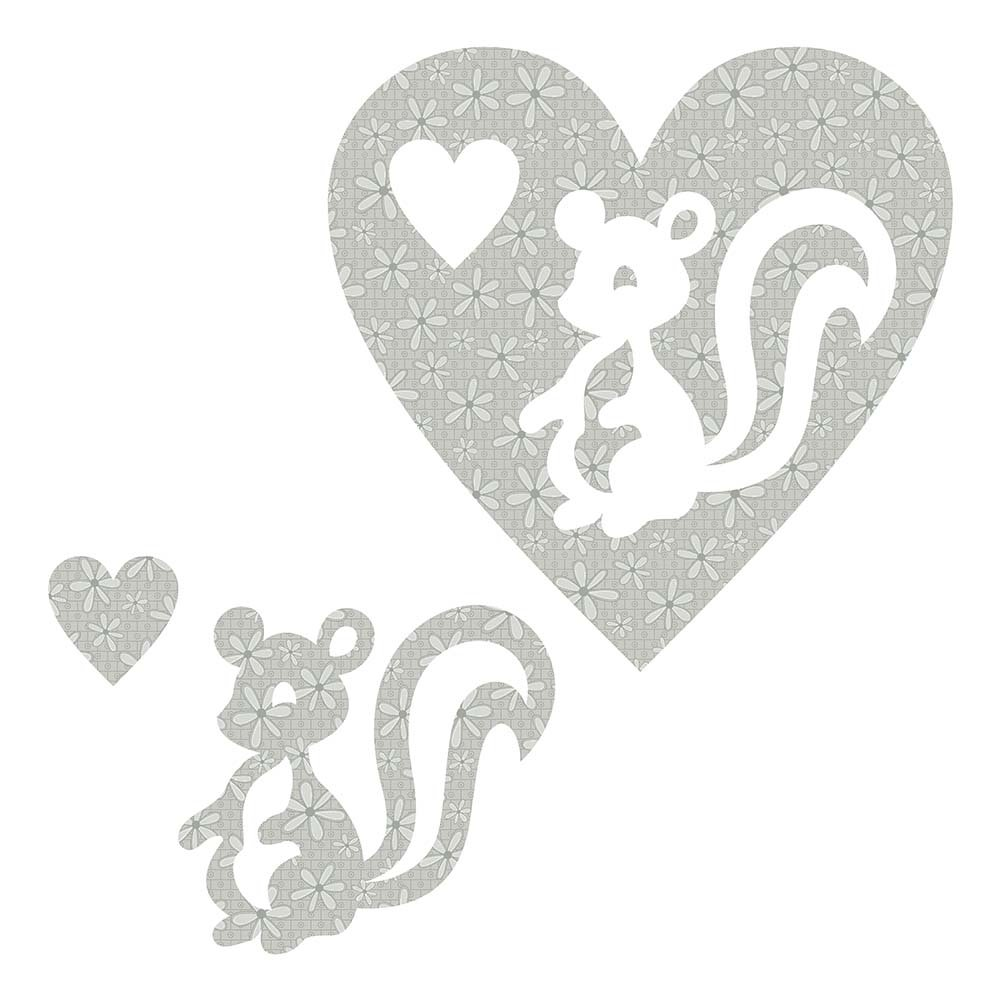 SHAN-LC028 02 - SKUNK&HEART LASER CUTS BY SHANIA SUNGA 6.25X6.25 FLANNEL GREY
