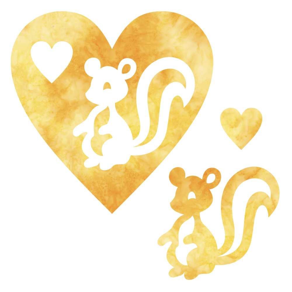 SHAN-LC028 04 - SKUNK & HEART LASER CUTS BY SHANIA SUNGA 6.25X6.25 ORANGE