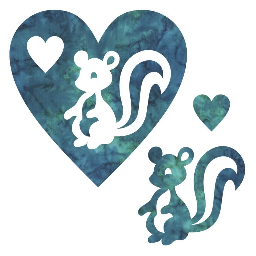 SHAN-LC028 05 - SKUNK & HEART LASER CUTS BY SHANIA SUNGA 6.25X6.25 TURQUOISE GREEN