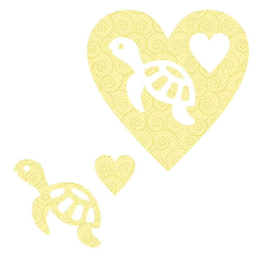 SHAN-LC029 01 - TURTLE&HEART LASER CUTS BY SHANIA SUNGA 6.25X6.25 FLANNEL YELLOW