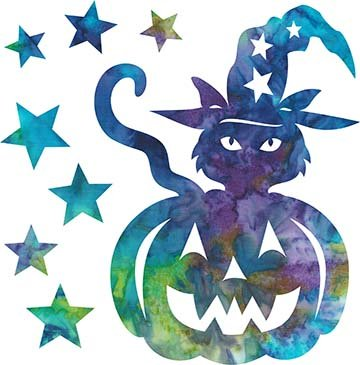 SHAN-LC035 01 - TRICK OR TREAT LASER CUT BY SHANIA SUNGA 7X8.75 BLUE PURPLE TEAL GREEN