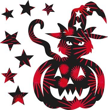 SHAN-LC035 03 - TRICK OR TREAT LASER CUT BY SHANIA SUNGA 7X8.75 BLACK RED