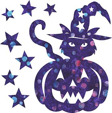 SHAN-LC035 04 - TRICK OR TREAT LASER CUT BY SHANIA SUNGA 7X8.75 PURPLE BLUE PINK