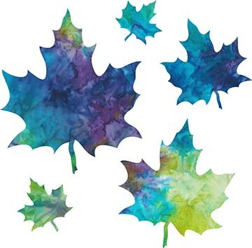SHAN-LC036 02 - MAPLE LEAVES LASER CUT BY SHANIA SUNGA 2 to 7 BLUE PURPLE TEAL GREEN