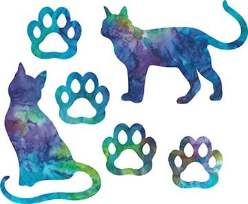 SHAN-LC037 03 - CAT LOVERS LASER CUT BY SHANIA SUNGA 9X16 BLUE PURPLE TEAL GREEN