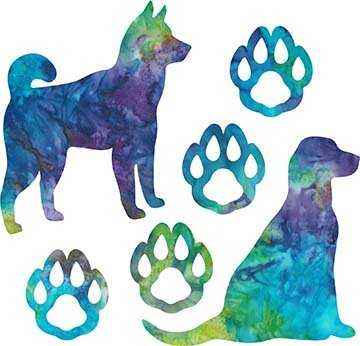SHAN-LC038 03 - DOG LOVERS LASER CUT BY SHANIA SUNGA 9X16 BLUE PURPLE TEAL GREEN