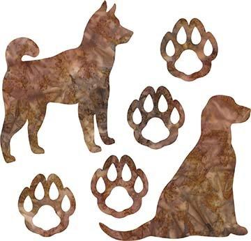 SHAN-LC038 04 - DOG LOVERS LASER CUT BY SHANIA SUNGA 9X16 RUST BROWN BATIK