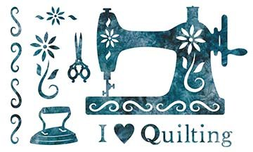 SHAN-LC039 04 - I LOVE QUILTING LASER CUT BY SHANIA SUNGA 11 X 17 TURQUOISE BATIK