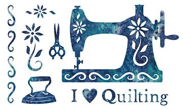 SHAN-LC039 06 - I LOVE QUILTING LASER CUT BY SHANIA SUNGA 11 X 17 BLUE TURQUOISE BATIK