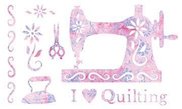 SHAN-LC039 07 - I LOVE QUILTING LASER CUT BY SHANIA SUNGA 11 X 17 PINK PURPLE BATIK