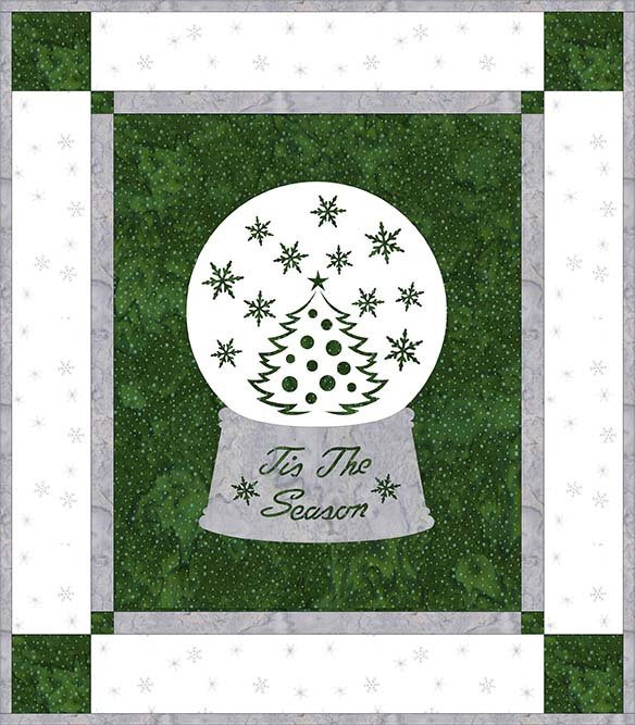 SHAN-NKSSS11 C MG - HOLIDAY WISHES - GREEN/WHITE PRE-CUT KIT BY SHANIA SUNGA 14 x 16
