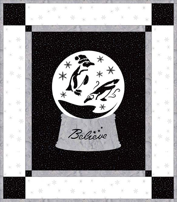 SHAN-NKSSS11 C MK - HOLIDAY WISHES  - BLACK/WHITE PRE-CUT KIT BY SHANIA SUNGA 14 x 16
