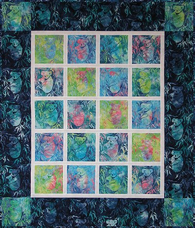 SHAN-SKFP005 PUR - KOALA QUILT SHOP KIT BY SHANIA SUNGA PURPLE/BLUE/GREEN THROW