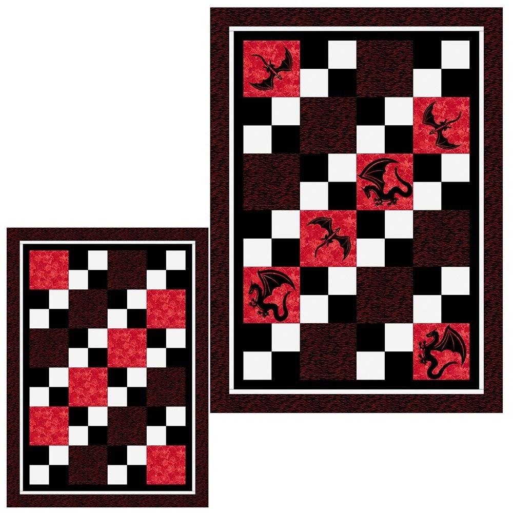 SHAN-SSS08 REBK - CHECK MATE PATTERN BY SHANIA SUNGA DRAGONS RED BLK WHI 62X86