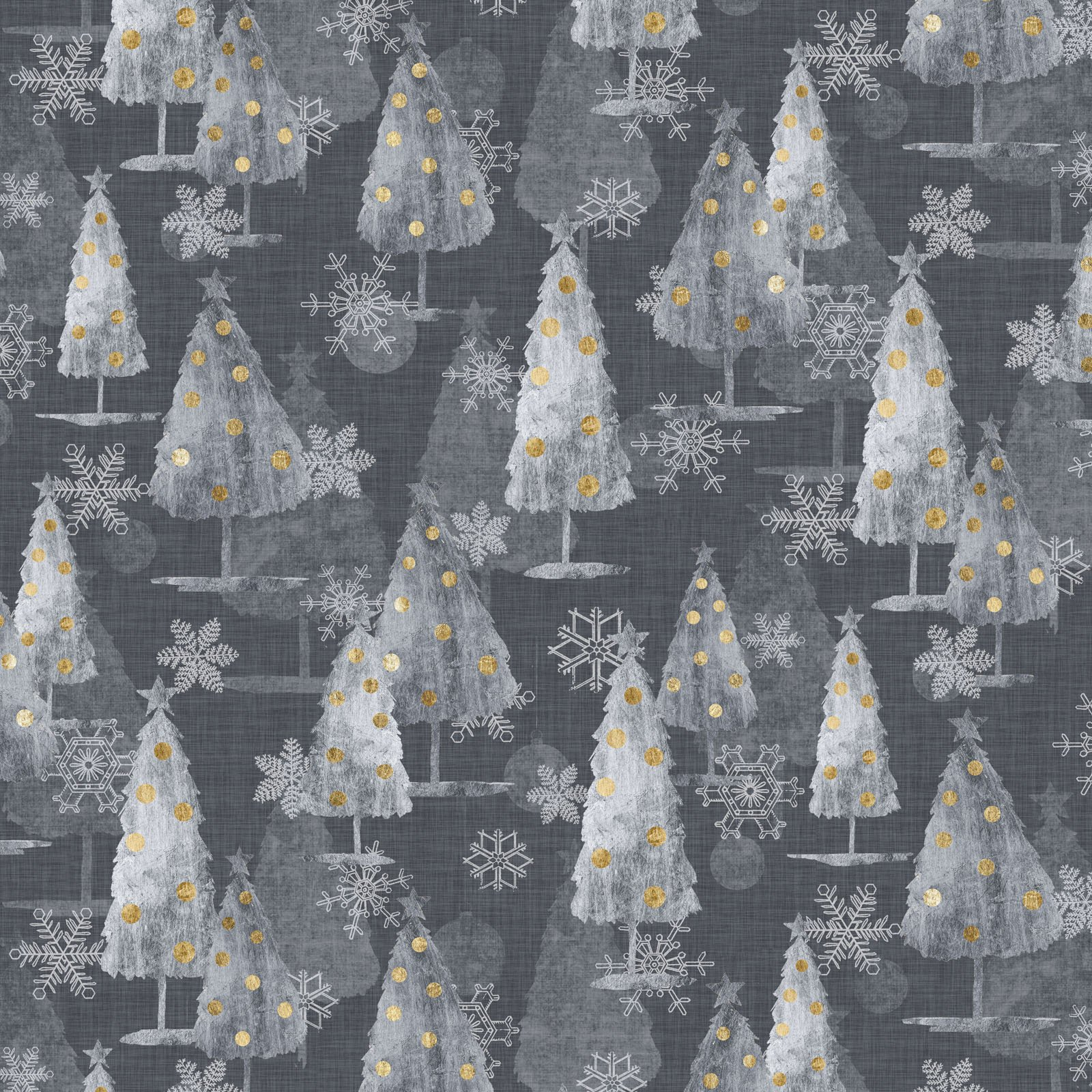 SOPC-4421 S- SOPHISTICATED CHRISTMAS BY GRACE POPP ALL OVER TREES/SNOWFLAKES SILVER - ARRIVING IN MAY 2021