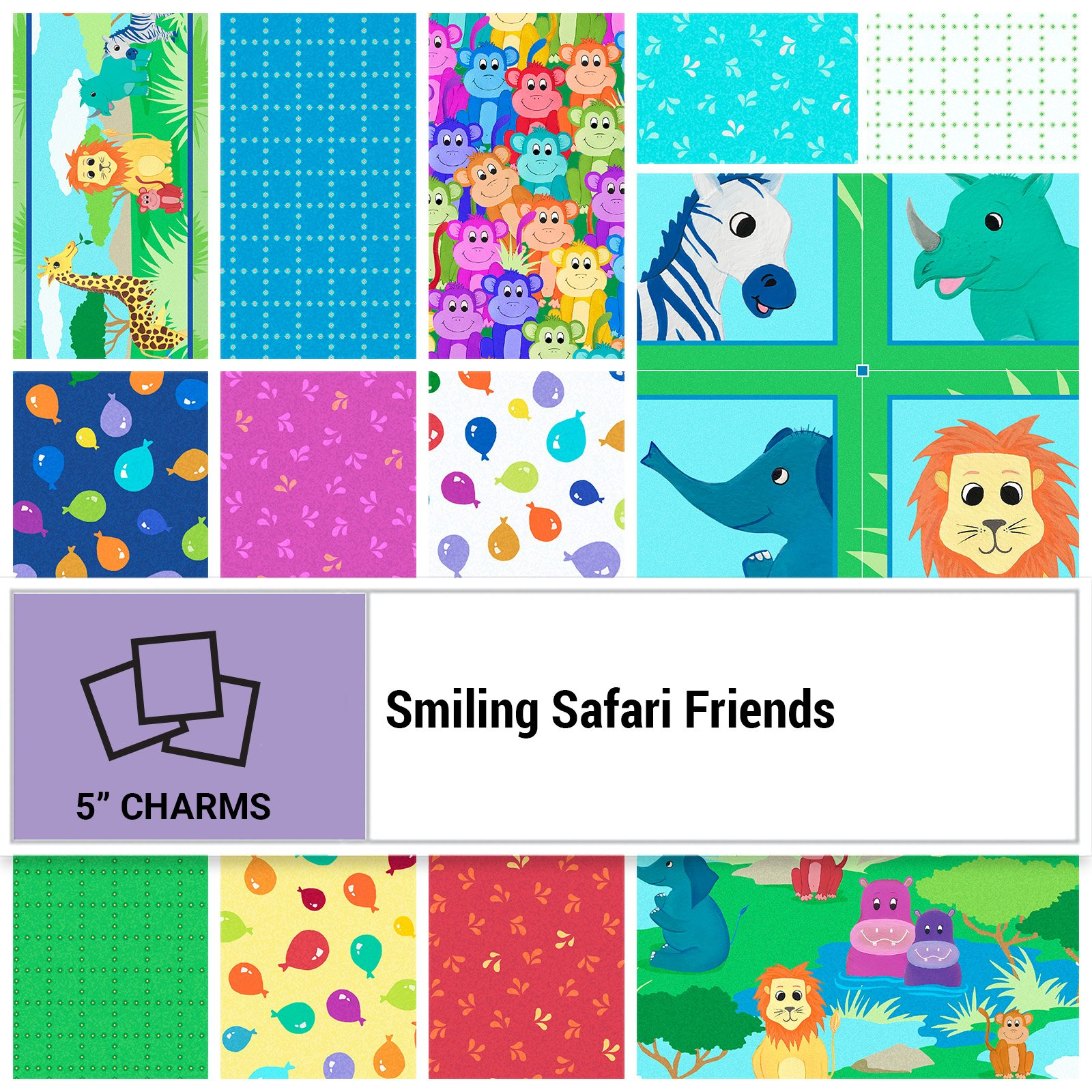 SSFR-005X5 - SMILING SAFARI FRIENDS 5 SQUARES BY P&B BOUTIQUE 42PCS - ARRIVING IN SEPTEMBER 2021