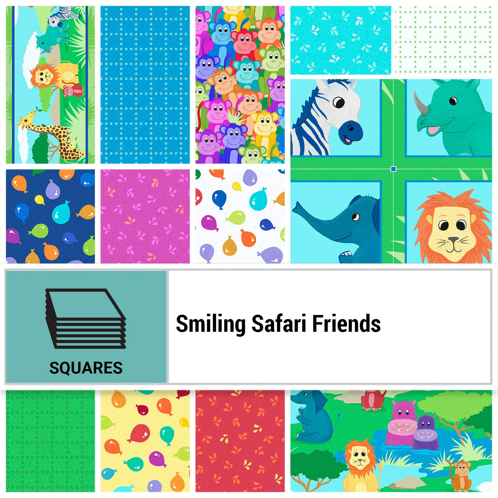 SSFR-10X10 - SMILING SAFARI FRIENDS 10 SQUARES BY P&B BOUTIQUE 42PCS - ARRIVING IN SEPTEMBER 2021
