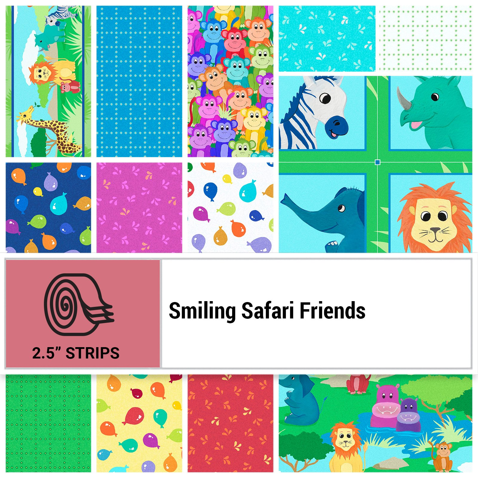 SSFR-STRIPS - SMILING SAFARI FRIENDS 2.5 STRIP ROLLS BY P&B BOUTIQUE 40PCS - ARRIVING IN SEPTEMBER 2021