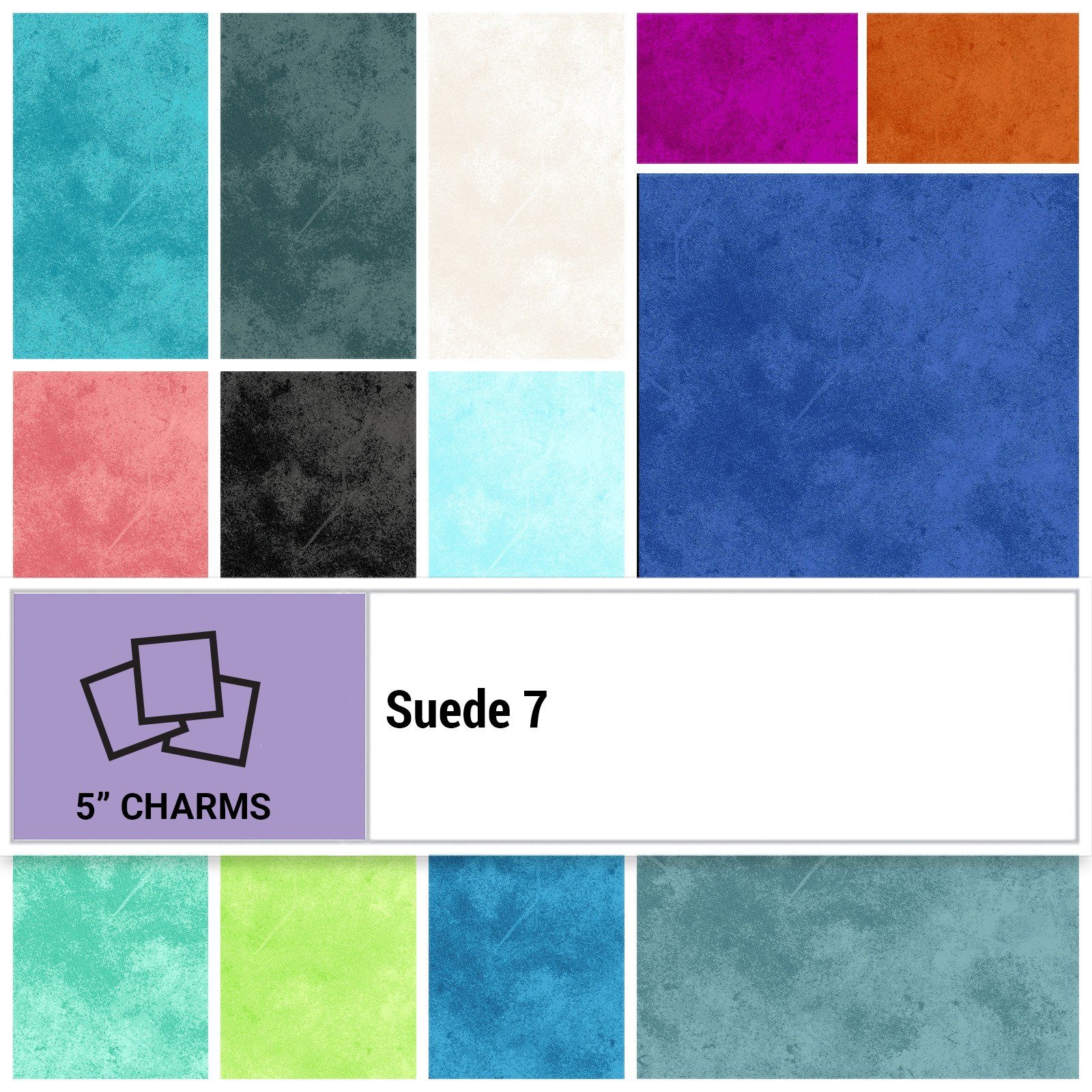 SUE7-005X5 - SUEDE 7 5 SQUARES BY P&B BOUTIQUE 42PCS - ARRIVING IN AUGUST 2021