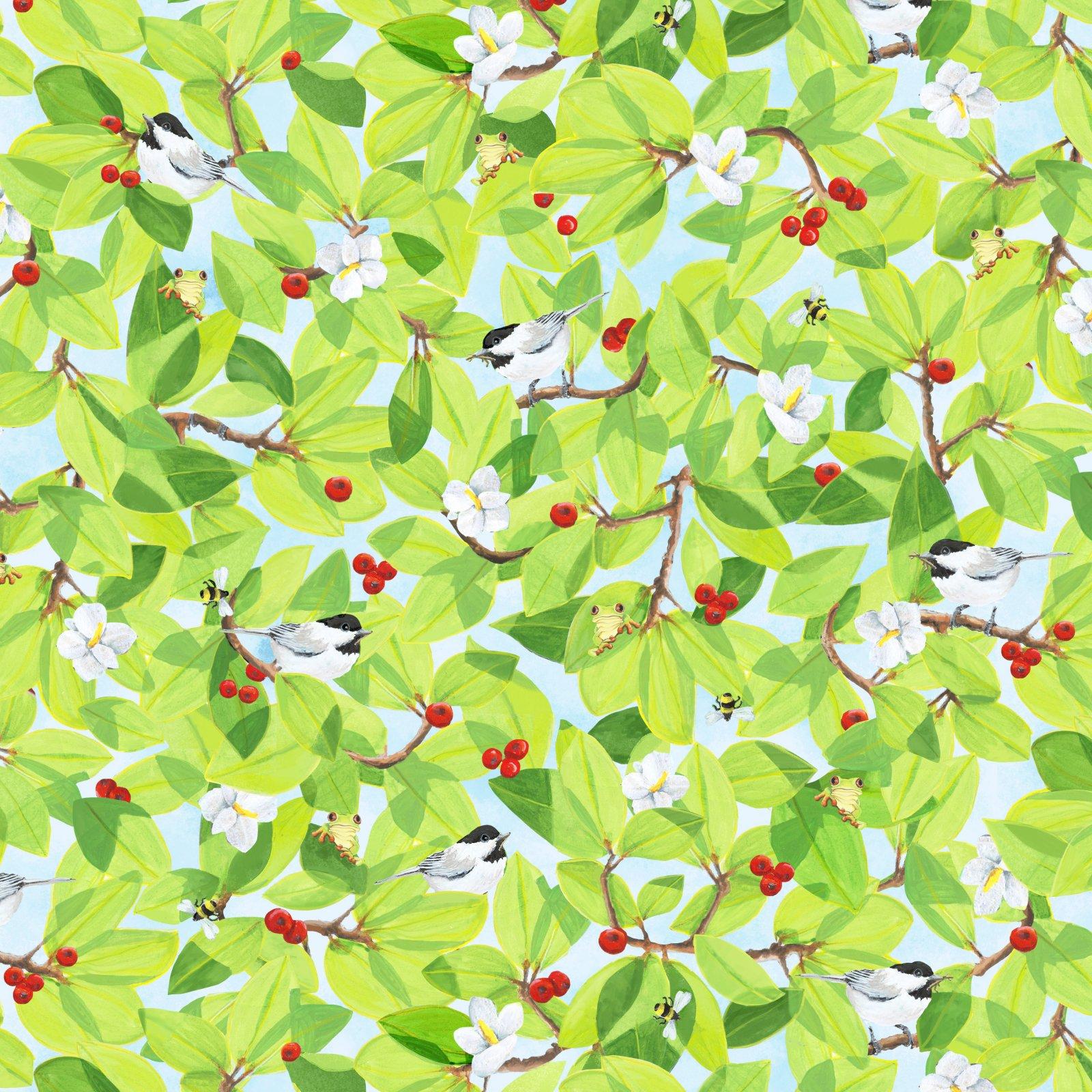 SWIN-4534 MU - SPRING WINGS BY KATHY KEHOE BAMBECK BIRD & LEAVES MULTI - ARRIVING IN JANUARY 2022