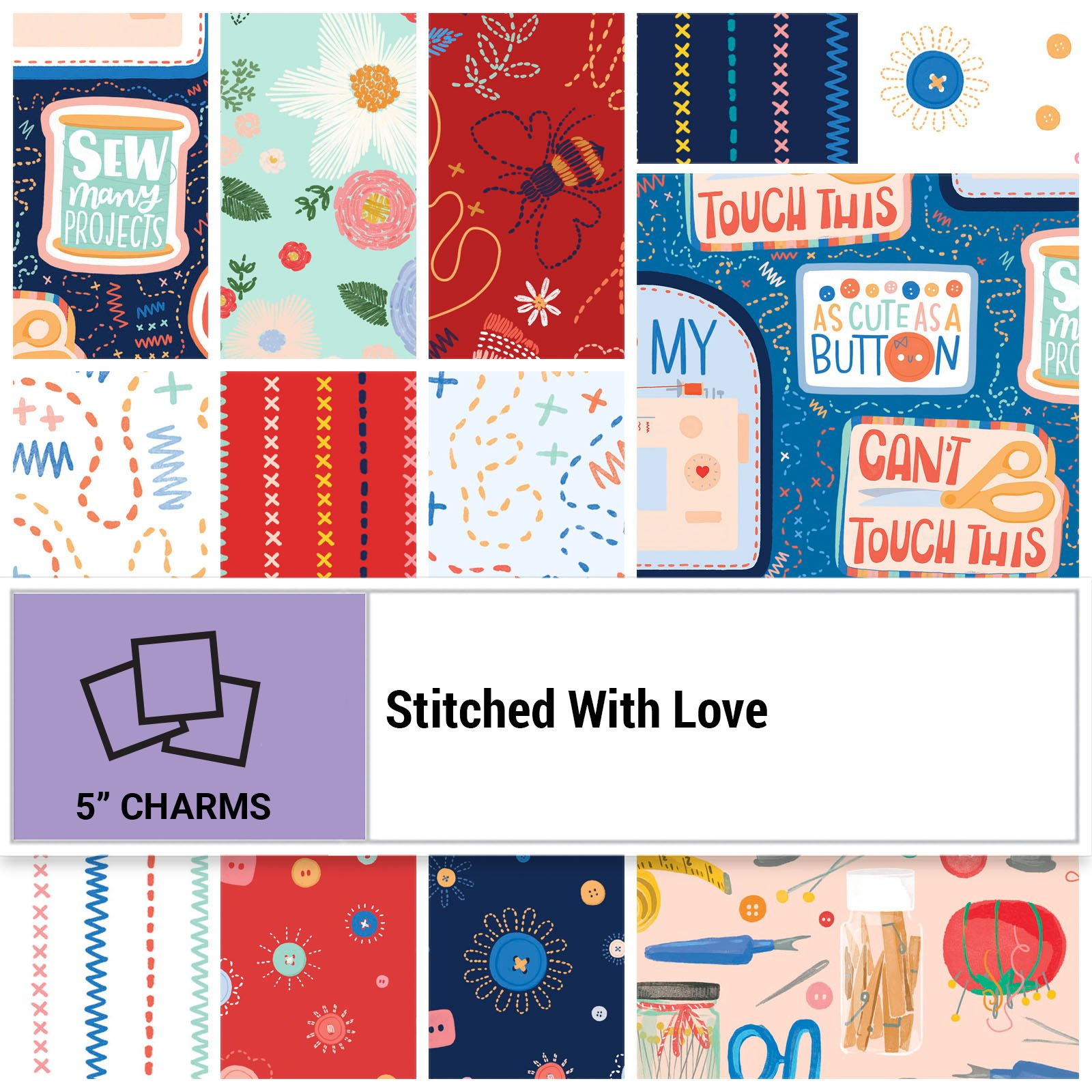 SWLO-005X5 - STITCHED WITH LOVE 5 x 5 SQUARES 42PCS - ARRIVING IN MARCH 2022