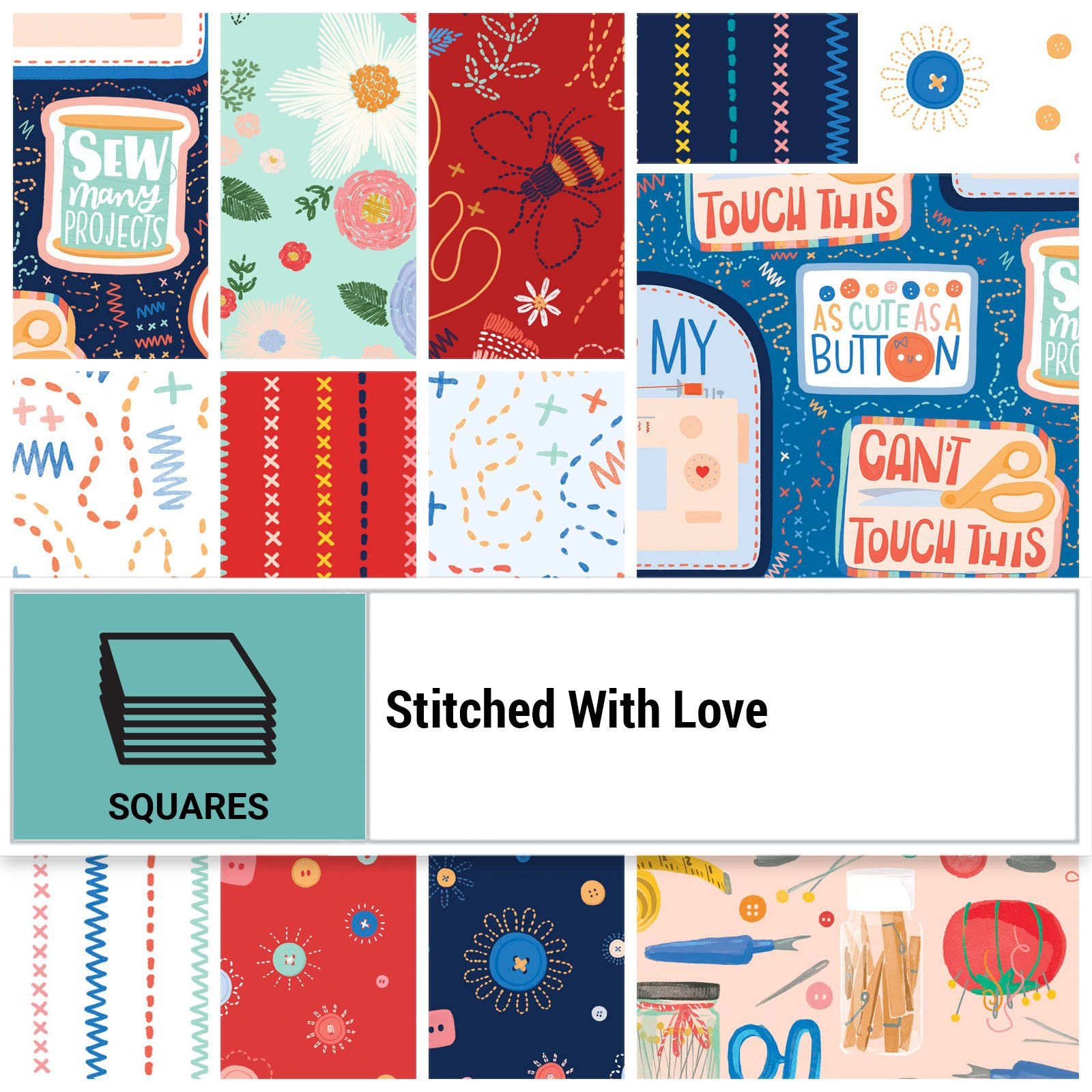 SWLO-10X10 - STITCHED WITH LOVE 10 x 10 SQUARES 42PCS - ARRIVING IN MARCH 2022