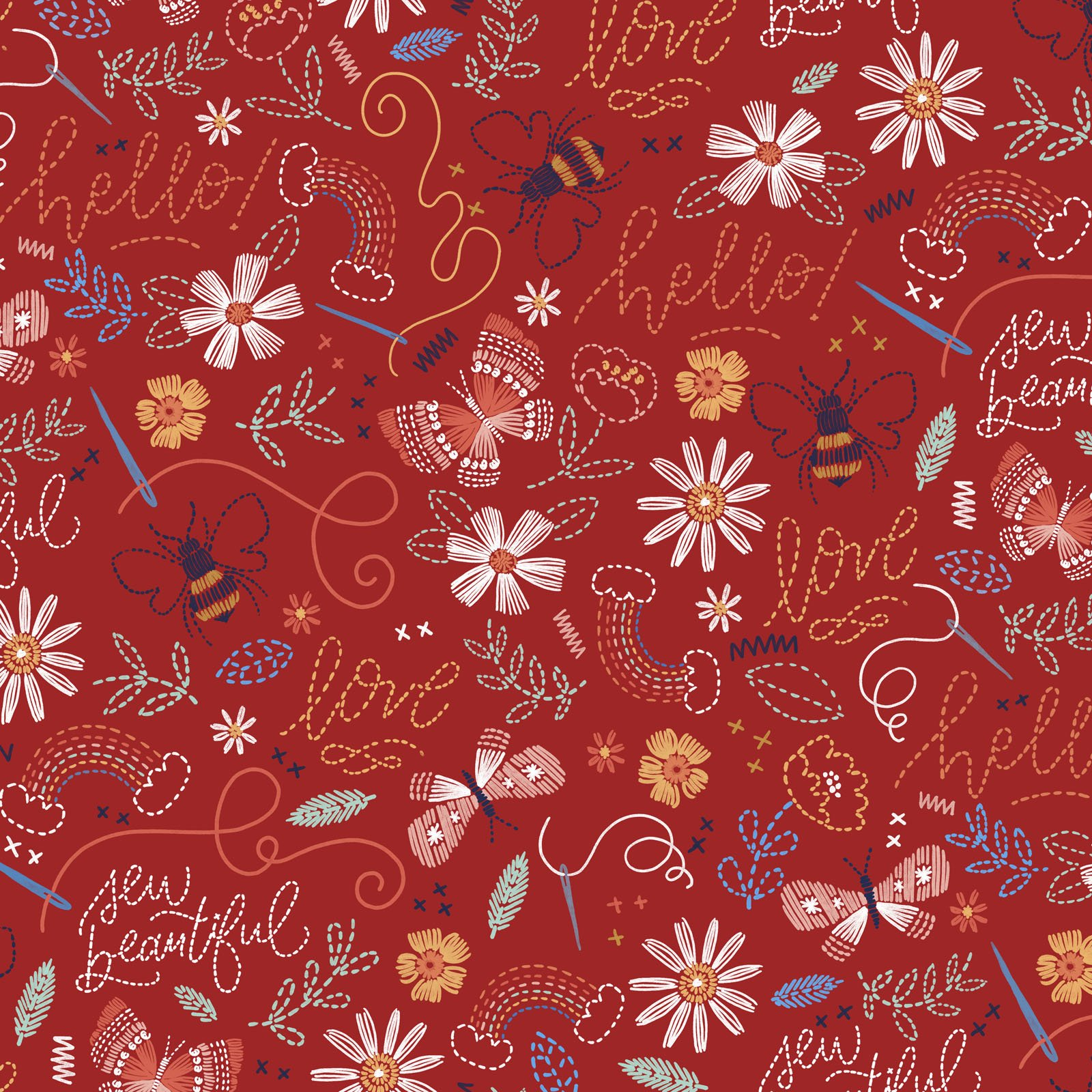 SWLO-4654 R - STITCHED WITH LOVE BY LONI HARRIS STITCHED WORDS RED - ARRIVING IN MARCH 2022