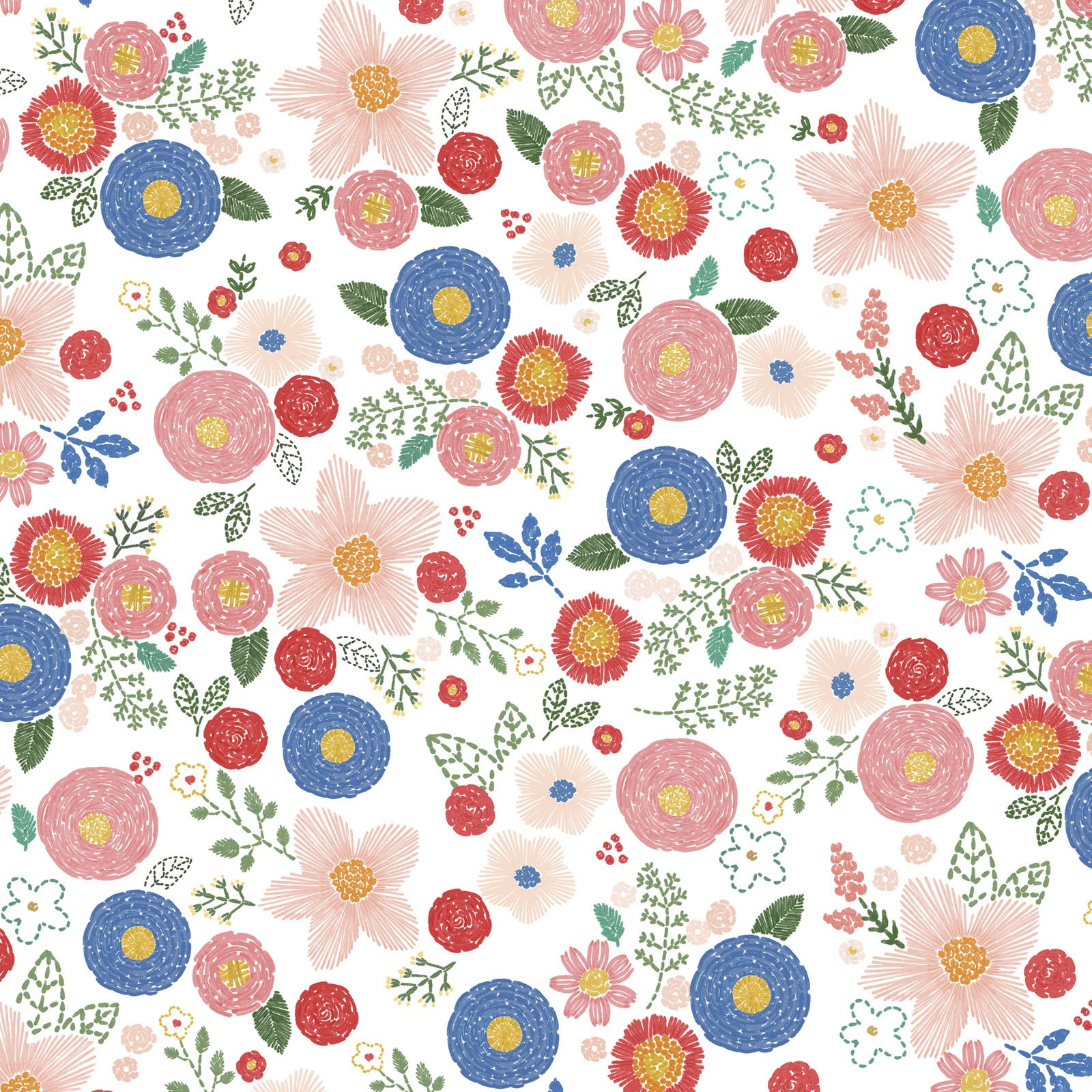 SWLO-4655 MU - STITCHED WITH LOVE BY LONI HARRIS STITCHED FLORAL MULTI - ARRIVING IN MARCH 2022