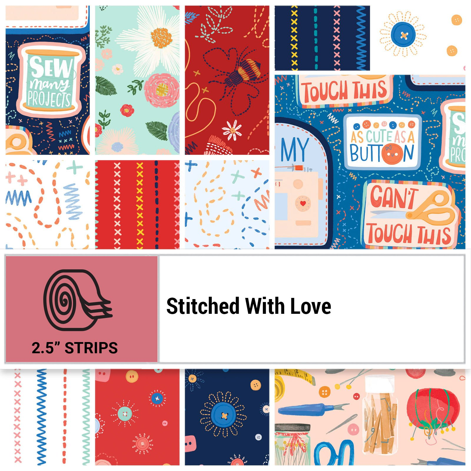 SWLO-STRIPS - STITCHED WITH LOVE 2.5 STRIPS 40PCS - ARRIVING IN MARCH 2022