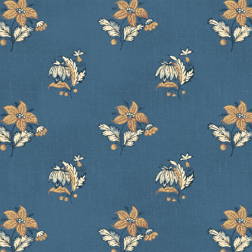 WIND-42459 1 - #HAMILTON BY WILLIAMSBURG SPACED FLOWER BLUE