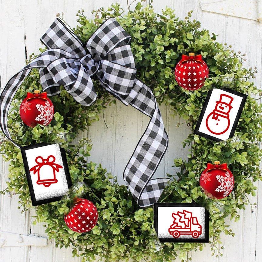 Framed Redwork Ornaments set 3 Kit & Pattern