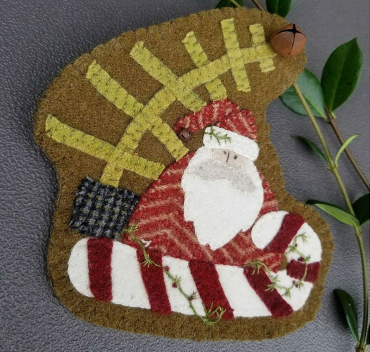 Candy Cane Santa Wool Ornament Kit