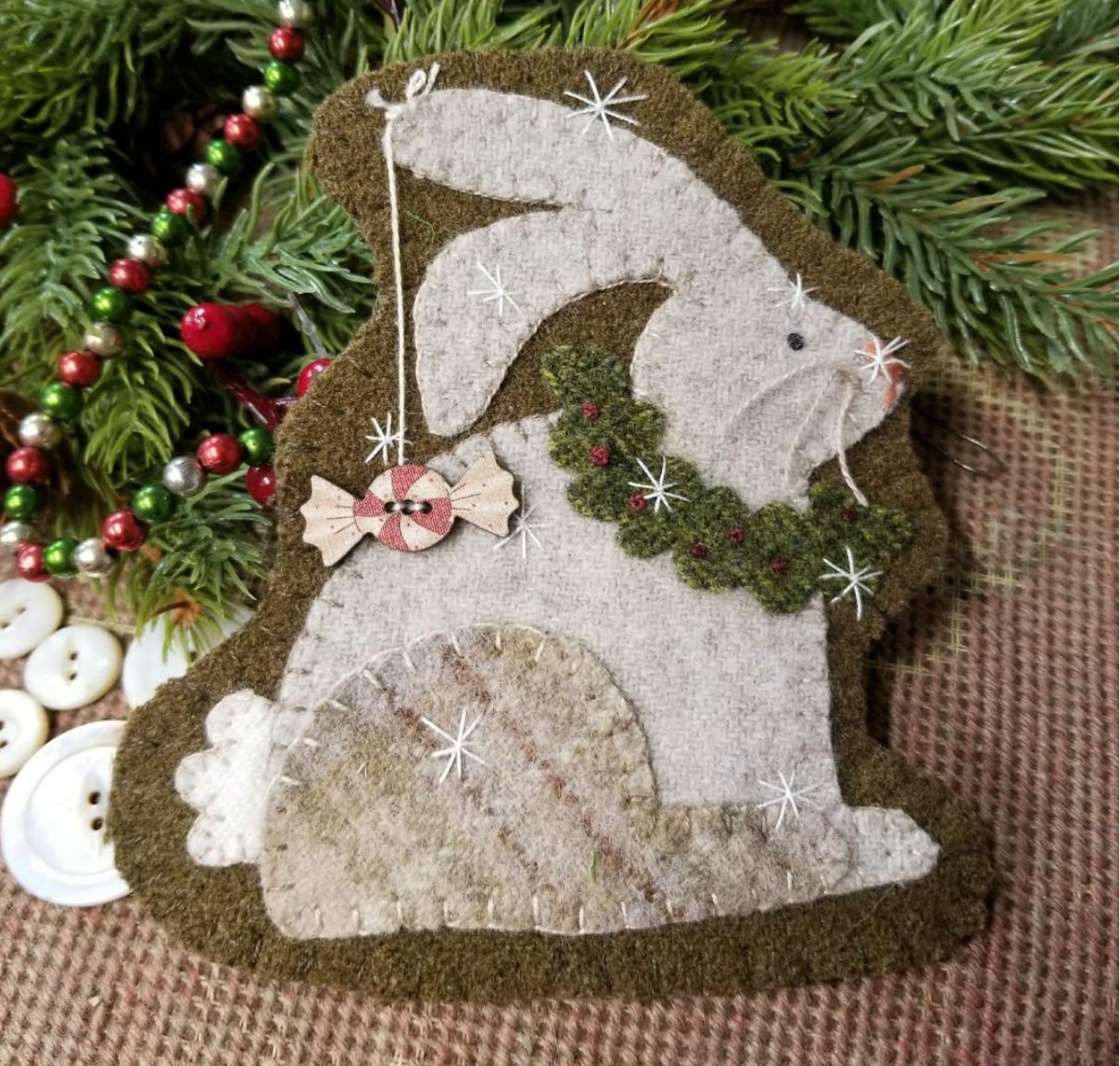 Christmas Bunny Wool Ornament - e-pattern